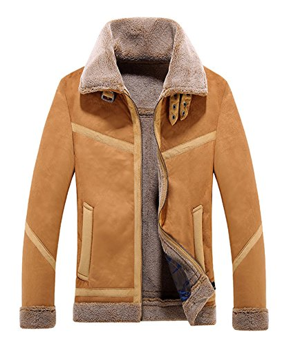 Chartou Men's Winter Spread Collar Sherpa Lined Suede Leather Trucker Jacket Coats (X-Small, Coffee)