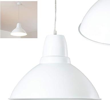 Lámpara colgante Ron de metal color blanco – Lámpara redonda para cocina – Salón – Habitaciones Dormitorio – Comedor