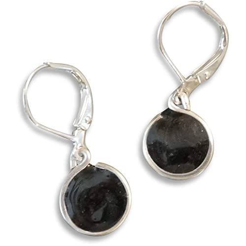 handmade lightweight small black metallic resin drop earrings on leverback Beads by Bettina