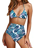 Upopby Women's Sexy Triangle Halter Push Up Padded Bikini Set Swimwear High Waisted Two Piece Swimsuits Bathing Suit