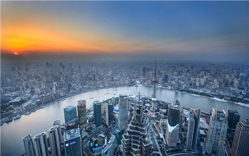 (SHANGHAI SKYLINE GLOSSY POSTER PICTURE PHOTO world financial center china)
