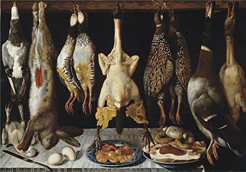 Theポリエステルキャンバスの油絵` Hiepes Tomas Bodegon De Aves y liebre 1643」、サイズ20x 29インチ/ 51x 73cm、このが安いアート装飾アート装飾プリントキャンバスは、フィットガレージの装飾、ホームギャラリーアートとギフトの商品画像