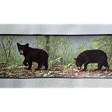 Bear Cubs in the Woods Wallpaper Border - Black Edge HB112103B by Rolling-Borders