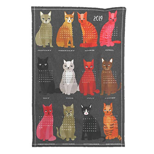 Roostery 2019 Tea Towel Calendar Cat Cats by Andrea Lauren Special Edition Linen Cotton Tea Towel