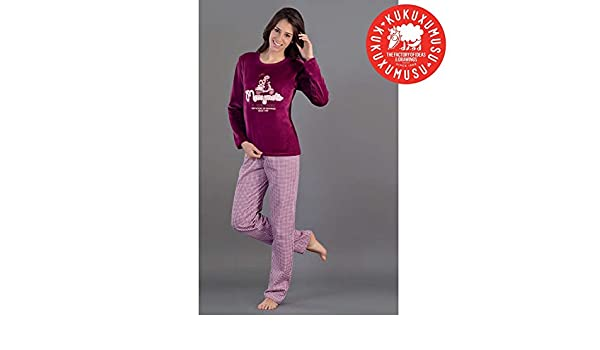 Kukuxumusu - Pijama Mujer Mujer Color: Burdeos Talla: 44: Amazon.es: Ropa y accesorios
