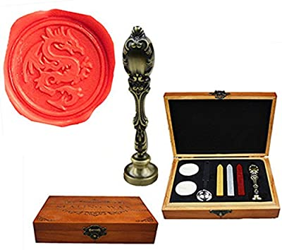 MNYR Luxury Dragon Sealing Wax Seal Stamp Vintage Custom Picture Logo Monogram Wedding invitations Wax Seal Stamp Metal Peacock Handle Sticks Spoon Wood Gift Box Set
