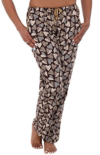 Alexander Del Rossa Womens Flannel Pajama Pants, Long Cotton Pj Bottoms, 3X Leopard Hearts (A0703Q583X) (Lounge Pants Leopard)