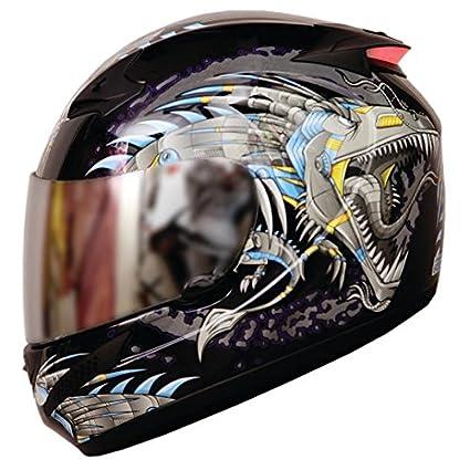 d8c0c11f THH - Full Face Helmet -T-76 Blue Meta Dragon (Glossy): Amazon.in ...