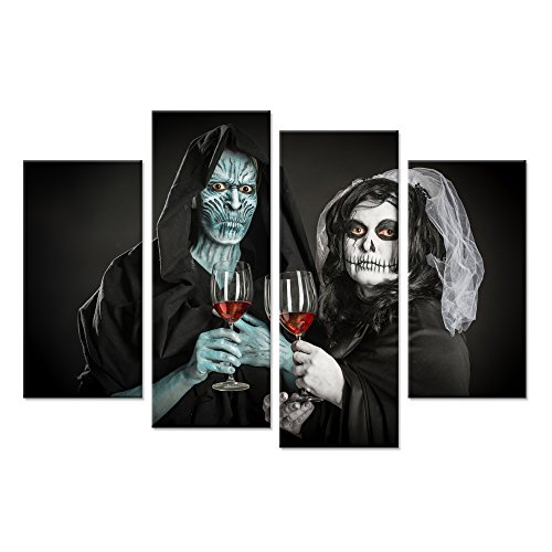 Hello Artwork Black And White Halloween Gift 4 Panel Skull Couple Canvas Art Print Human Skeleton Bride Lover With Red Wine Make Up Picture Printing On Canvas Stretched And Framed For Living Room