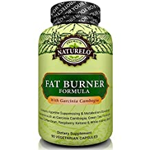 NATURELO Fat Burner - Garcinia Cambogia, Green Tea, Guarana, Forskolin, 5-HTP, Green Coffee Bean, Raspberry Ketones, White Kidney Bean Extract - Appetite Suppressant for Safe Weight Loss - 90 Capsules