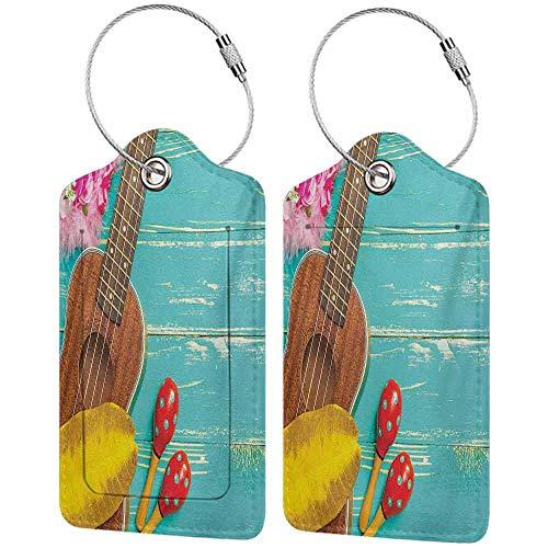 Leather luggage tag Music Fashion match Ukulele with Hawaii Style Background Wooden Classical Vacation Stylized W2.7