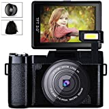 Digital Camera Camcorder, Weton FHD 1080P Video Camera 24.0MP 3.0 Inch Flip Screen Vlogging Camera LCD Mini Camcorders with Wide Angle Lens and Flash Light (Two Batteries Included)