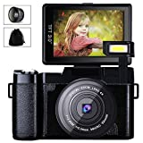 Digital Camera Camcorder, Weton FHD 1080P Video Camera 24.0MP 3.0 Inch Flip Screen Vlogging Camera LCD Mini Camcorders with Wide Angle Lens and Flash Light