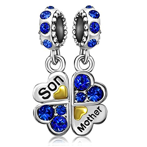 JMQJewelry Mother's Day Mom Love Son Clover Charm Blue Birthstone Crystal Rhinestone Beads Charms For Bracelets