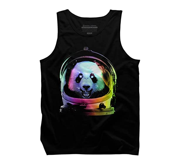 Design By Humans Astronaut Panda Men's Small Black Graphic Tank Top