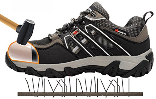 Modyf steel toe cap work safety shoes reflective casual breathable outdoor boots puncture proof footwear, Black, 11 B(M) US