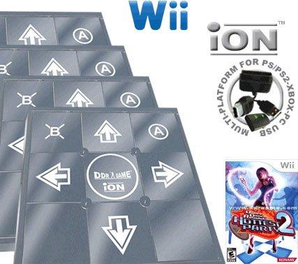 4 x Wii Dance Dance Revolution DDR iON Metal Dance Pad + Dance Dance Revolution DDR Hottest Party 2