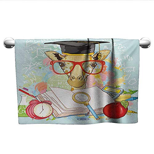 (Graduation,Best Bath Towels Hipster Giraffe Animal with Glasses and Cap Geek Student in Education School Fast Drying Fitness Hand Towels Multicolor W 20