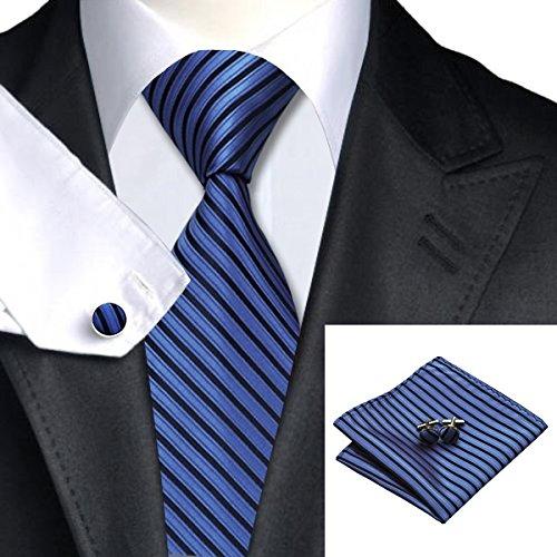 SN-230 Black Blue Striped Tie Hanky Cufflinks Sets