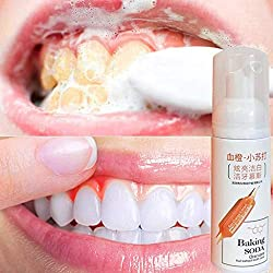 Stain Removal Whitening Toothpaste丨 Fresh Shining Tooth-Cleaning Mousse Toothpaste Teeth Whitening Oral Hygiene Removes Plaque Stains Bad Breath Dental Tool (White)