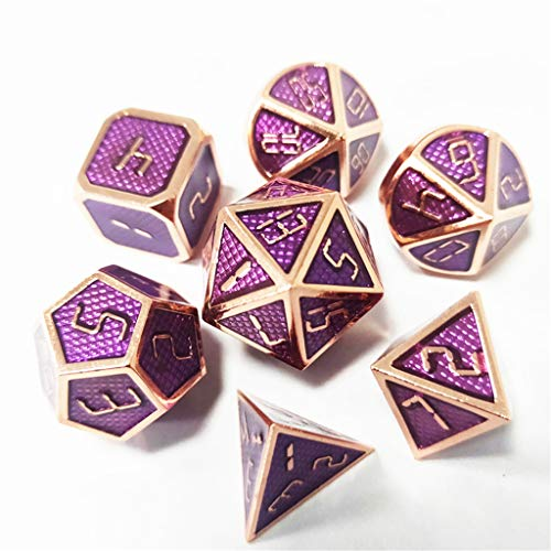 Yiotfandoll 7PCS Zinc Alloy Metal Dice Polyhedral Dice D20 D12 D10 D8 D4 for Dungeons and Dragons DND RPG MTG Table Games 16mm w/ Purple Grid Enamel dice (Purple Rose Gold) ()