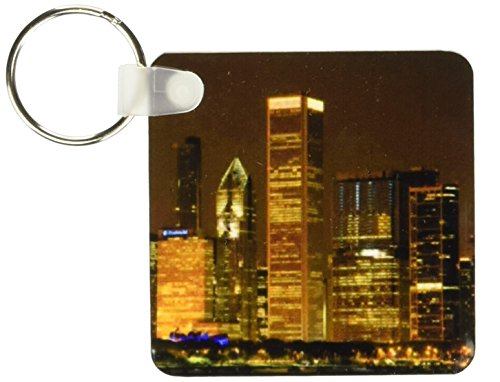 3dRose Chicago Skyline at Night, Illinois, David R. Frazier Key Chains, Set of 2 (kc_90191_1)
