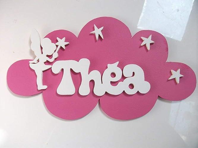 Plaque de porte fée prénom en bois nuage personnalisé amazon