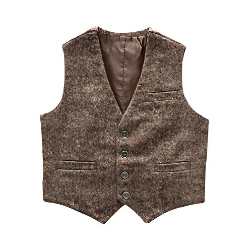 Boys' Girls' Top Design Casual Waistcoat Pockets Buttons V Collar Vests Brown Size 5T by Coodebear