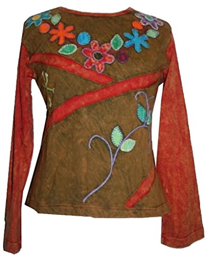 Womens Regular Cotton Rib - Agan Traders 206 RB Rib Cotton Colorful Patched Hand Embroidered Top Blouse [ Medium ]