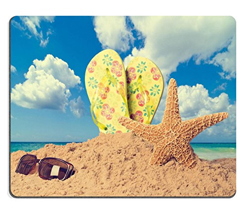 MSD Natural Rubber Gaming Mousepad Sunglasses on sandy beach with flip flops and starfish against the ocean vintage feel IMAGE 19860398