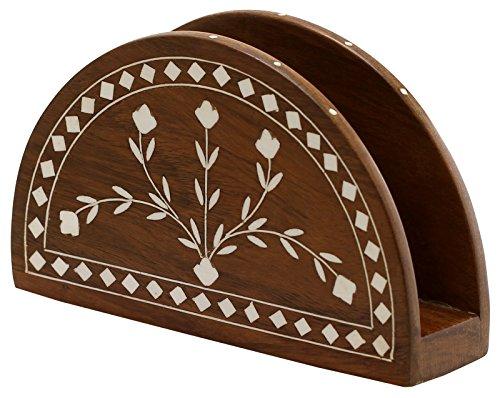 BEST Wooden Napkin Holder – Envelope Letter, Document Holder Centerpiece for Table Desk Organiser – Handmade 6.5 Brown Wood Napkin Stand Handmade Gif…
