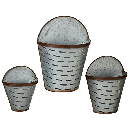"Set of 6 Silver Rustic Galvanized Metal Rusted Slotted Wall Planters 13.75"" by Diva At Home"