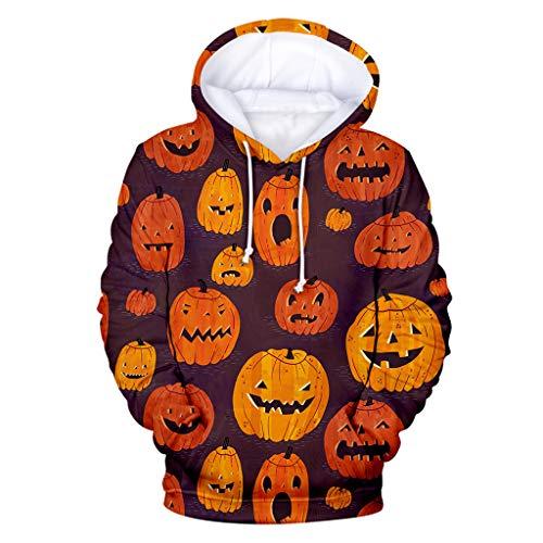 Popcorn Halloween Costumes Homemade (FEDULK Halloween Costume for Women, Hoodie Sweatshirt Slouchy Pumpkin Print Plus Size Pullover Tops XS-5XL(Yellow,)