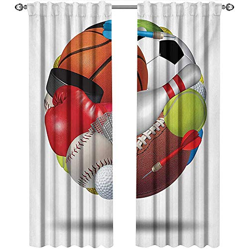(shenglv Sports, Curtains Bathroom Window, Soccer Ball Combined with Other Sports Equipment Universal Hockey Darts Boxing Fun, Curtains for Bedroom, W108 x L96 Inch, Multicolor)