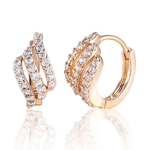 GULICX Eye-catching Gold Tone Three Layer White Rhinestone Hoop Earrings Party (Eye Jewelry Catching Earring)