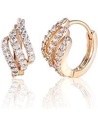 Eye-catching Gold Tone Three Layer White Rhinestone Hoop Earrings Party