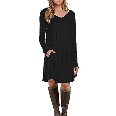 c7d766cfc85 KEERADS Femme Robe Longue T-Shirt Tops Poche à Manches Longues Casual  Couleur Unie Col