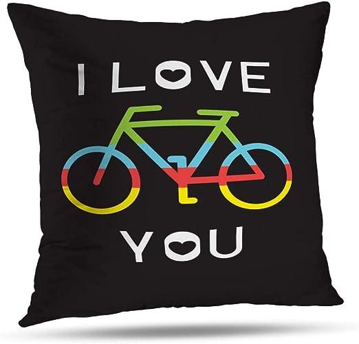 TABUE 18X18inch Fundas de Almohada Bicicleta Amo la Bicicleta ...