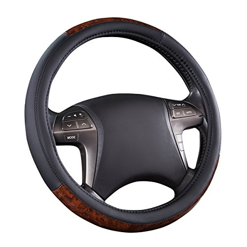 Car Hubcaps Classic - CAR PASS Classic Wood Grain Universal Leather Steering Wheel Cover fit for Trucks,suvs,Vans,sedans (Black)