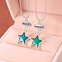 BEST FRIENDS Five Star Color Change Thermo Mood Pendant Necklace Friends Gift