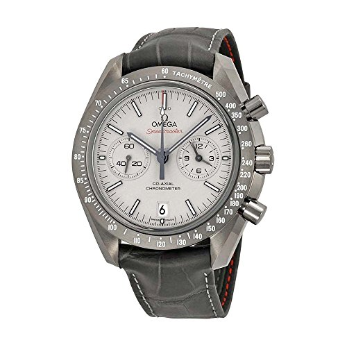 Omega Speedmaster Professional Grey Side of the Moon Chronograph Automatic Sandblasted Platinum Dial Grey Leather Mens Watch 31193445199001