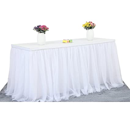 Amazon Perfectii Table Skirt Cloth White Table Skirt Tulle For