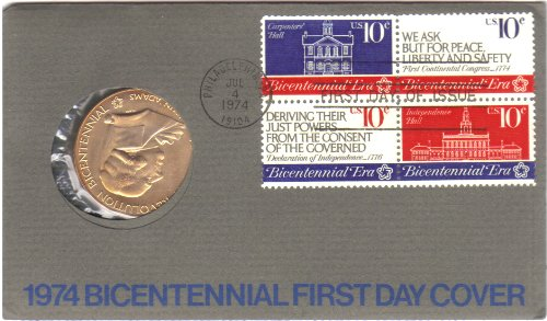 1974 American Bicentennial Commemorative Medal & Stamps First Day Cover - John Adams -