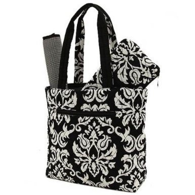 Belvah Quilted Damask 3pc Diaper Bag (Black) (Bag Cosmetic Belvah)