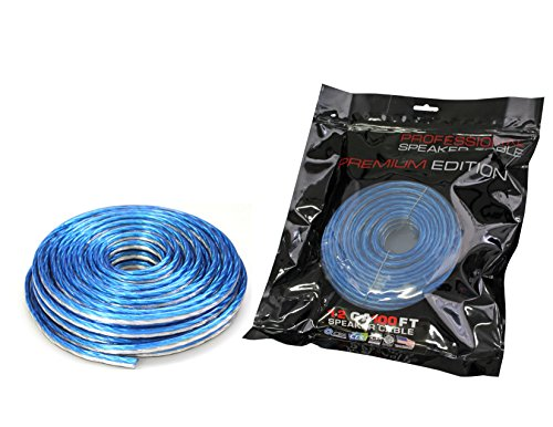 Absolute USA SWT12B100 Professional Premium Speaker Wire 12 Ga 100ft - Clear Blue/White by Absolute