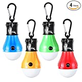 night gear - LED Tent Light Bulb with Clip Hooks, Small But Bright 150 Lumens LED Hanging Night Light for Kids, Battery Powered Gear Light Bulb for Outdoor Activities, Hurricane Emergency Illumination(Multi,4-Pcs)
