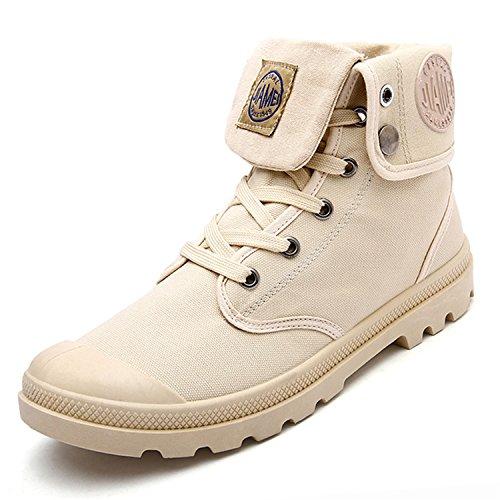 Rainstar Hombre High Top Sneakers Canvas Zapato De Trabajo Lace Up Martin Botas Khaki