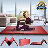 Gym Exercise Mat, Gymnastics Mat 4'x8'x2 Thick Foldable Panel Aerobics Exercise Fitness Tumbling Mat PU Leather with Handle Home Gym Floor Training Pad for Yoga Pilates Light Stretching Martial Arts