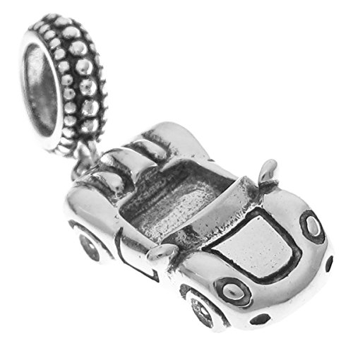 Queenberry Sterling Silver Luxury Convertible Racing Car European Style Dangle Bead Charm