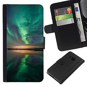 LECELL--Cuero de la tarjeta la carpeta del tirón Smartphone Slots Protección Holder For HTC One M7 -- Aurora Borealis Reflexión --